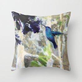Hummingbird Haze Throw Pillow