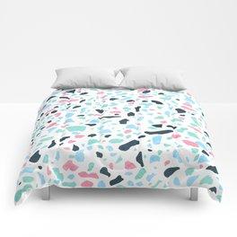 Terrazzo memphis vintage pastel blue green pink Comforters