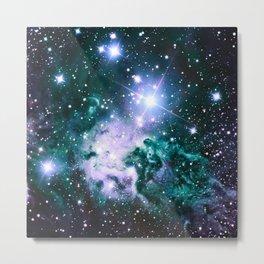 Fox Fur Nebula Violet Forest Green Teal Metal Print