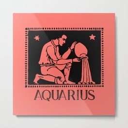 Aquarius Vintage Zodiac on Living Coral Metal Print