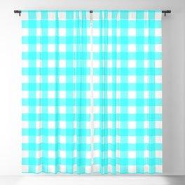 Aqua blue gingham pattern Blackout Curtain