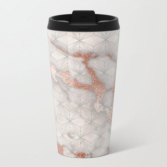 Rose gold marble pattern II Metal Travel Mug