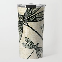 Dragonflies on tan texture Travel Mug