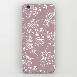 Modern mauve pink white hand painted floral iPhone Skin