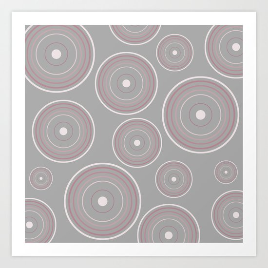 CONCENTRIC CIRCLES IN GREY (abstract pattern) Art Print
