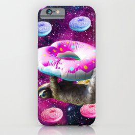Space Sloth Riding Rainbow Donut iPhone Case