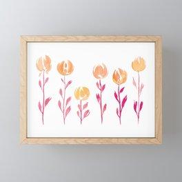 Floral Stems | Orange Pink Framed Mini Art Print