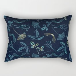 Seeds and Leaves print - blue. Rectangular Pillow