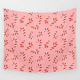 Candy Canes - Pink Wall Tapestry