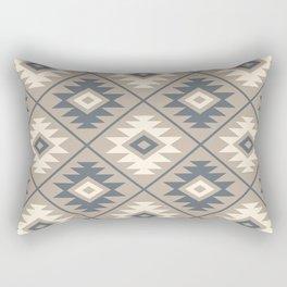 Aztec Symbol Stylized Pattern Blue Cream Sand Rectangular Pillow