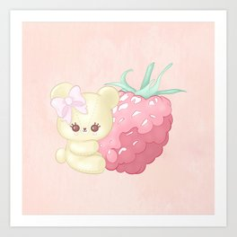 Raspberry Cutie Bear Art Print