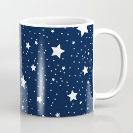Superstar Starry Night Pattern in White and Nautical Navy Blue Coffee Mug