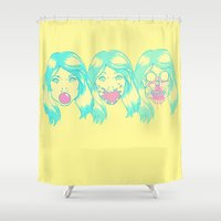 hot pink Shower Curtains featuring Hot Pink. by BAMBI ONASSIS