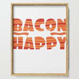 """It's bacon  day! """"Bacon Makes Me Happy"""" tee design for bacon lovers like you! Awesome gift too!  Serving Tray"""