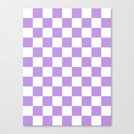 Checkered - White and Light Violet Canvas Print