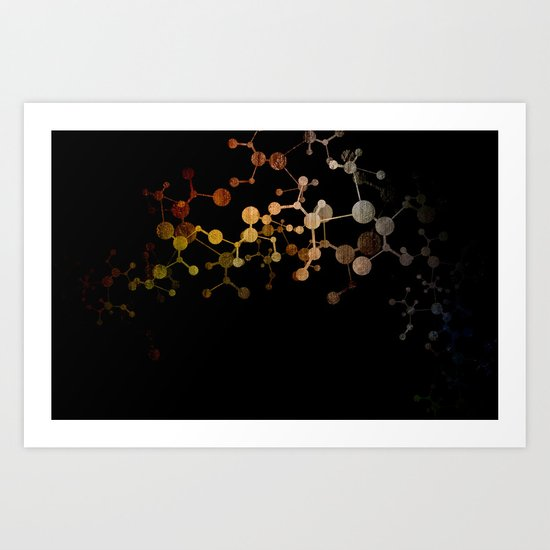 Metallic Molecule Art Print