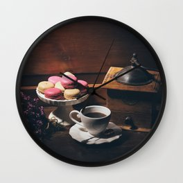 Vintage still life with coffee items Wall Clock