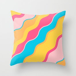 Brightly Colored Squiggly WavesPattern Throw Pillow