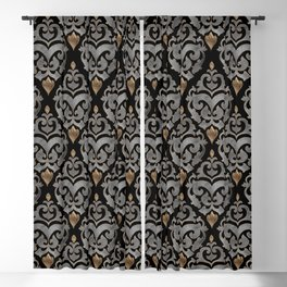 Persian Oriental Pattern - Watercolor black and gold Blackout Curtain