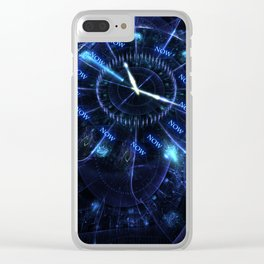 The Time is Now - Fractal - Manafold Art Clear iPhone Case