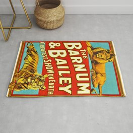Barnum and Bailey Great Show on Earth - Lion and Tiger Vintage Circus Poster Rug