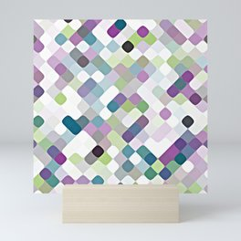 Purple Lime Green Abstract Rounded Squares Pattern Mini Art Print