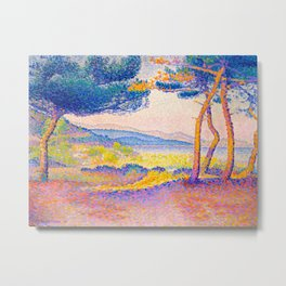 Henri-Edmond Cross Neo-Impressionism Pointillism Pines Along the Shore Oil Painting Metal Print