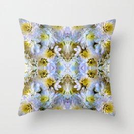Bue Yellow Pastel Chrysanthemums Design Throw Pillow
