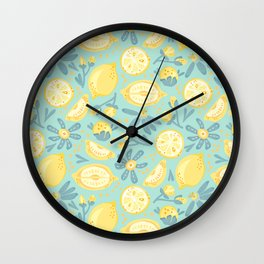 Lemon Pattern Mint Wall Clock