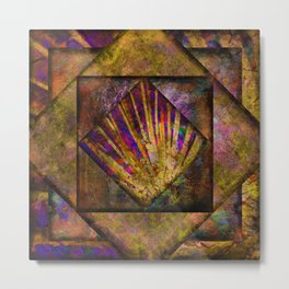 Yellow Gold and Jewel Tone Quilt Metal Print