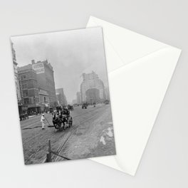 1900 Times Square, NYC, Longacre Square, cityscape black and white photograph Stationery Cards