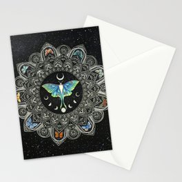 Lunar Moth Mandala with Background Stationery Cards