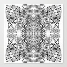 Black and White Zentangle Tile Doodle Design Canvas Print