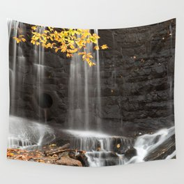 Rock Wall Autumn Falls Wall Tapestry