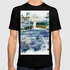 Abstract rock pool in the rough rocks MEDIUM Black Mens Fitted Tee