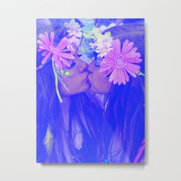 Free Love - girls kissing Metal Print