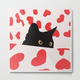 Black Cat Hiding in Hearts Metal Print