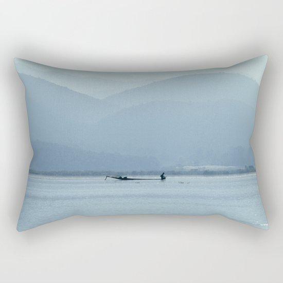 Fisherman on Inle Lake Rectangular Pillow