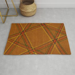 Square Geometry Japanese Shima-Shima Pattern Rug