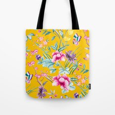 Chinoiserie mustard yellow floral Tote Bag