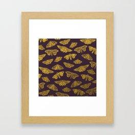 Golden Moths in Purple Framed Art Print