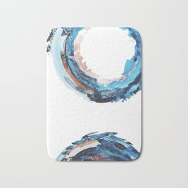 Galaxies Collide: a minimal, abstract watercolor in blues and pink by Alyssa Hamilton Art Bath Mat