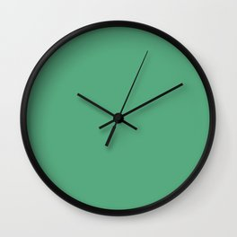 Dark Pastel Aquamarine Green Blue Solid Color Pairs To Sherwin Williams Julep SW 6746 Wall Clock