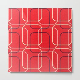 Retro Cubes Red  #midcenturymodern Metal Print