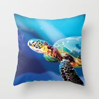 sea turtle Throw Pillows featuring Sea Turtle by Natasha Alexandra Englehardt