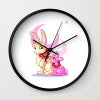 sailormoon Wall Clocks featuring Moon Rabbits by Becky Hopkins