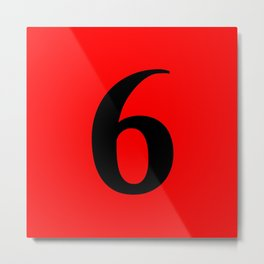 6 (BLACK & RED NUMBERS) Metal Print