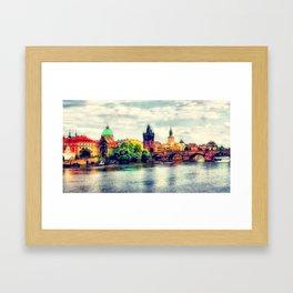 Prague panorama watercolor Framed Art Print