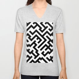 Black and White Diagonal Labyrinth Unisex V-Neck
