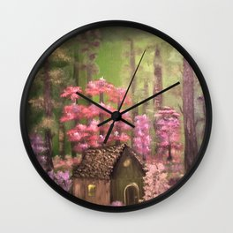 Enchanted cabin in the woods Wall Clock